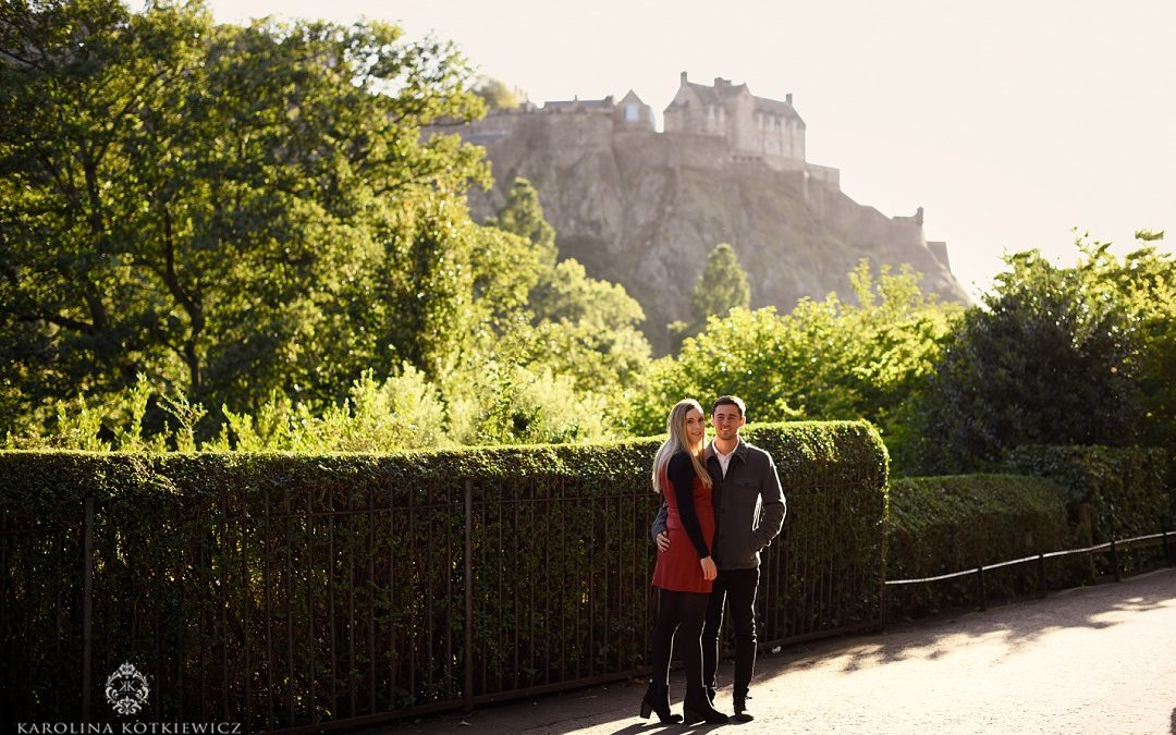 Sunny Edinburgh engagement session with Iain & Kayleigh